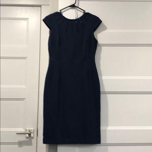 Adrianna papelle navy dress, statement neckline